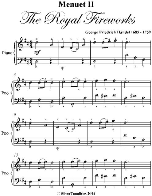 Menuet I I the Royal Fireworks Easy Piano Sheet Music, George Friedrich Handel