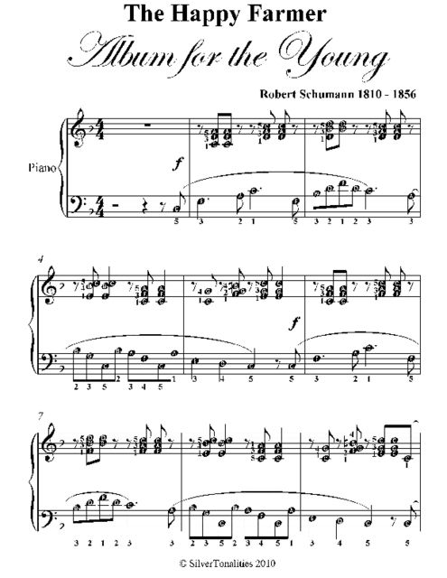 Happy Farmer Elementary Piano Sheet Music, Robert Schumann