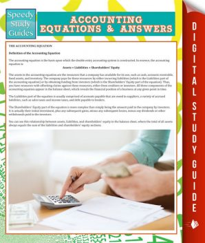 Accounting Equations And Answers (Speedy Study Guides), Speedy Publishing