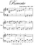 Reverie Easiest Piano Sheet Music, Claude Debussy