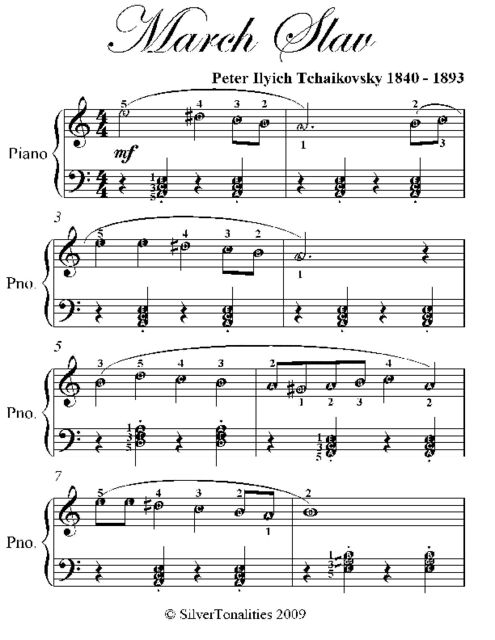 March Slav Easiest Piano Sheet Music, Peter Ilyich Tchaikovsky