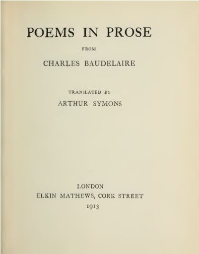 Poems in Prose, Charles Baudelaire