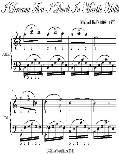 I Dreamt That I Dwelt In Marble Halls Easy Piano Sheet Music, Michael Balfe