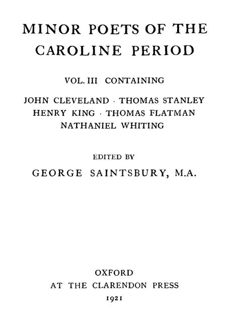 Minor Poets of the Caroline Period, Vol. III, John Cleveland