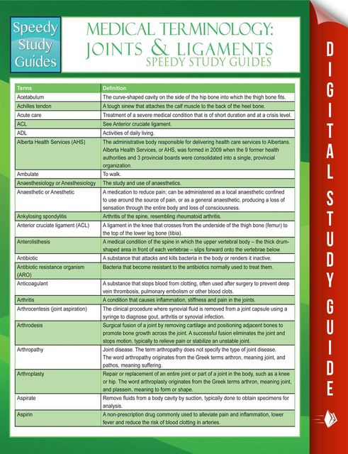 Medical Terminology: Joints & Ligaments Speedy Study Guides, Speedy Publishing