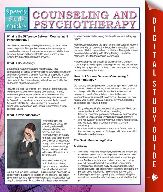 Counseling And Psychotherapy (Speedy Study Guides), Speedy Publishing
