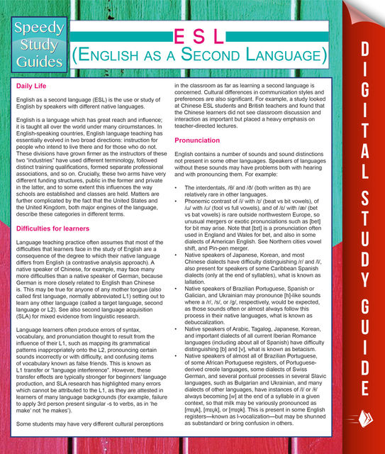 ESL (English as a Second Language), Speedy Publishing