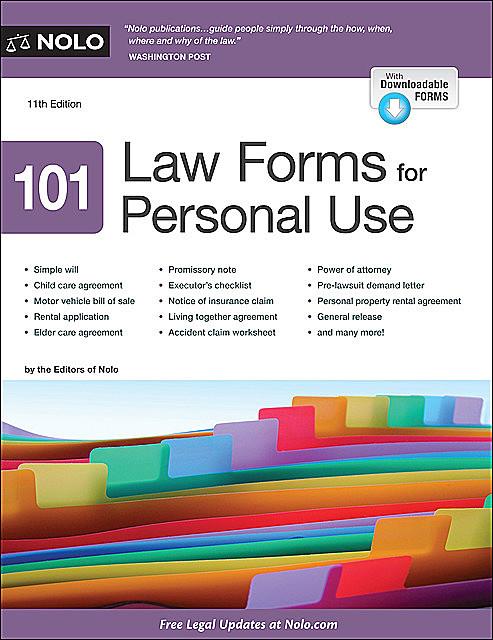 101 Law Forms for Personal Use, Editors of Nolo