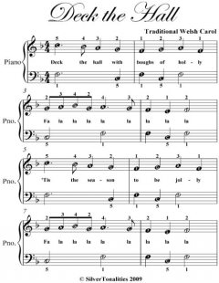 Deck the Hall Easiest Piano Sheet Music, Traditional Carol