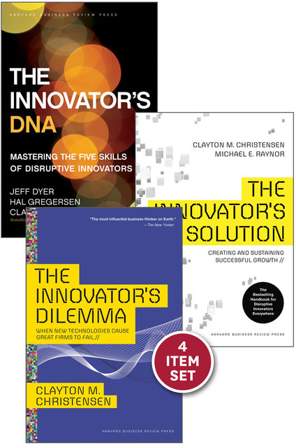 """The Clayton Christensen Innovation Collection (includes The Innovator's Dilemma, The Innovator's Solution, The Innovator's DNA, and the award-winning Harvard ... article """"How Will You Measure Your Life?""""), Clayton Christensen"""