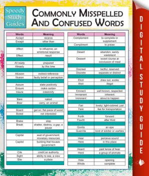 Commonly Misspelled And Confused Words (Speedy Study Guides), MDK Publishing