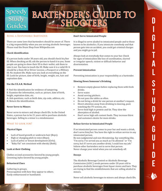 Bartender's Guide To Shooters (Speedy Study Guides), Speedy Publishing