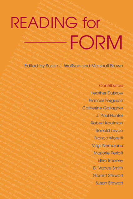Reading for Form, Susan, Marshall Brown, Wolfson