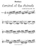 Donkeys Carnival of the Animals Easy Violin Sheet Music, Camille Saint Saens
