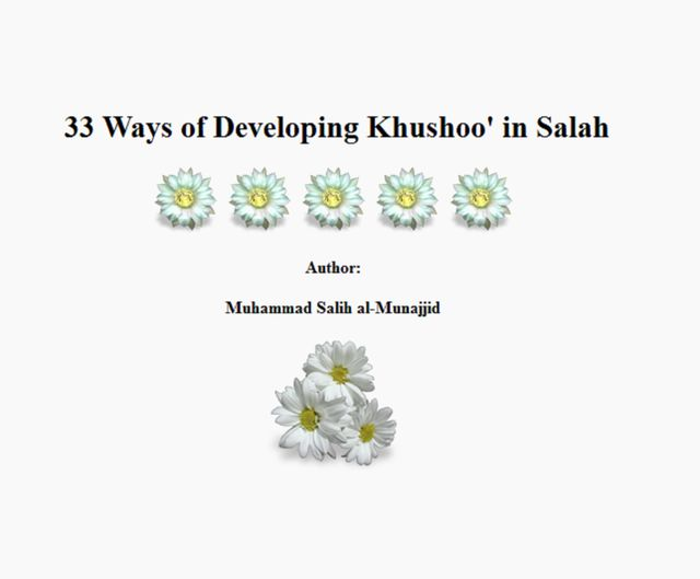 33 Ways of Developing Khushoo' in Salah, Muhammad Salih al-Munajjid