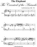 The Elephant the Carnival of the Animals Beginner Piano Sheet Music, Camille Saint Saens