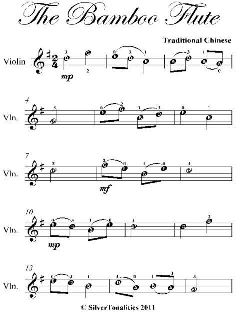 The Bamboo Flute Easy Violin Sheet Music, Traditional Chinese