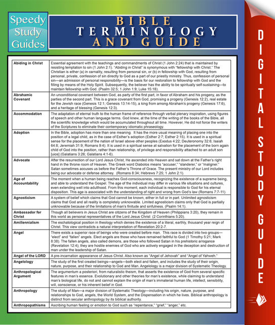 Bible Terminology And Guide, Speedy Publishing