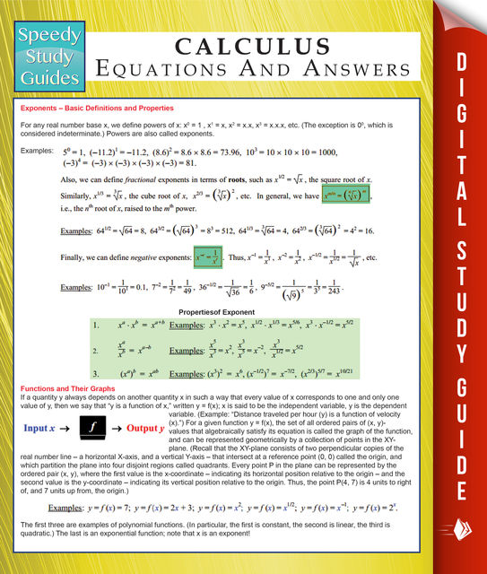 Calculus Equations And Answers (Speedy Study Guides), Speedy Publishing