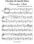 Chocolate the Spanish Dance Nutcracker Suite Easy Piano Sheet Music, Peter Ilyich Tchaikovsky