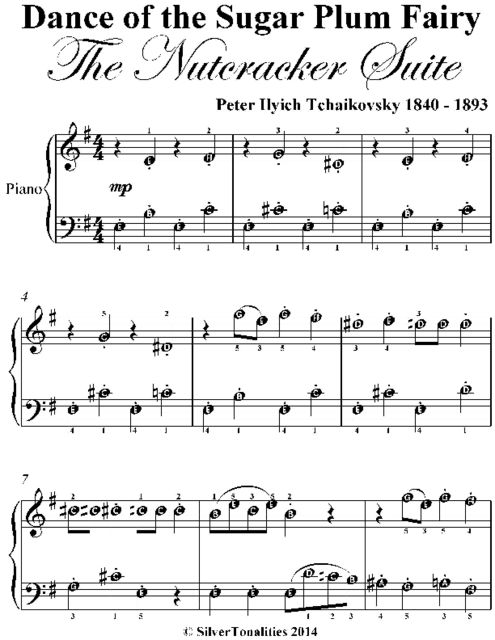 Dance of the Sugar Plum Fairy the Nutcracker Suite In E Minor Easiest Piano Sheet Music, Peter Ilyich Tchaikovsky