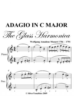 Adagio in C Major Glass Harmonica Easy Piano Sheet Music, Wolfgang Amadeus Mozart