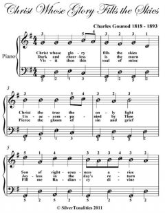 Christ Whose Glory Fills the Skies Easy Piano Sheet Music, Charles Gounod