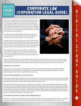 Corporate Law (Coporation Legal Guide) (Speedy Study Guide), Speedy Publishing