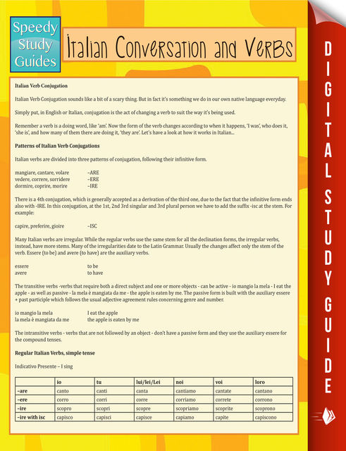 Italian Conversation and Verbs (Speedy Language Study Guide), Speedy Publishing
