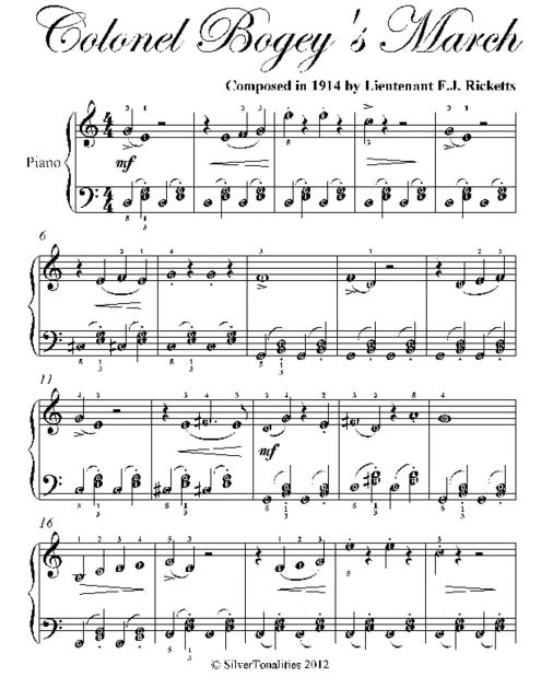 Colonel Bogey's March Easiest Piano Sheet Music, F.J.Ricketts