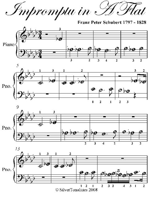 Impromptu In Aflat Beginner Piano Sheet Music, Franz Schubert