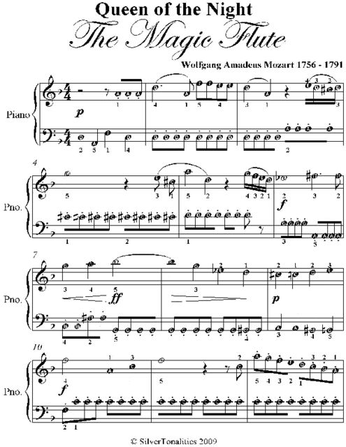 Queen of the Night the Magic Flute Easy Piano Sheet Music, Wolfgang Amadeus Mozart