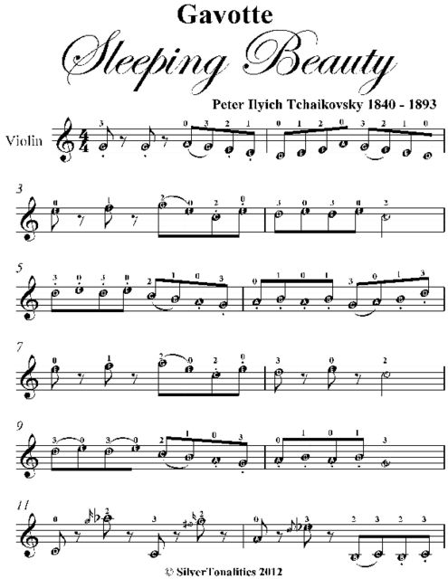 Gavotte Sleeping Beauty Easy Violin Sheet Music, Peter Ilyich Tchaikovsky