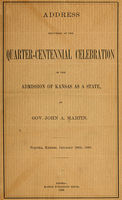 Address delivered at the quarter-centennial celebration of the admission of Kansas as a state, John Martin